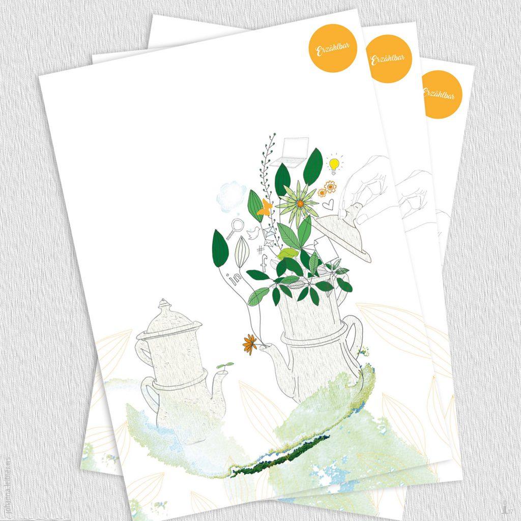 Illustration: Kaffeekanne mit Blumen und Pflanzen