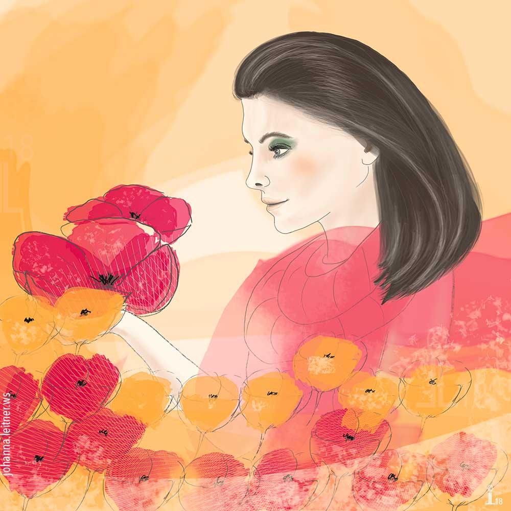 Illustration: Frau mit Blumen