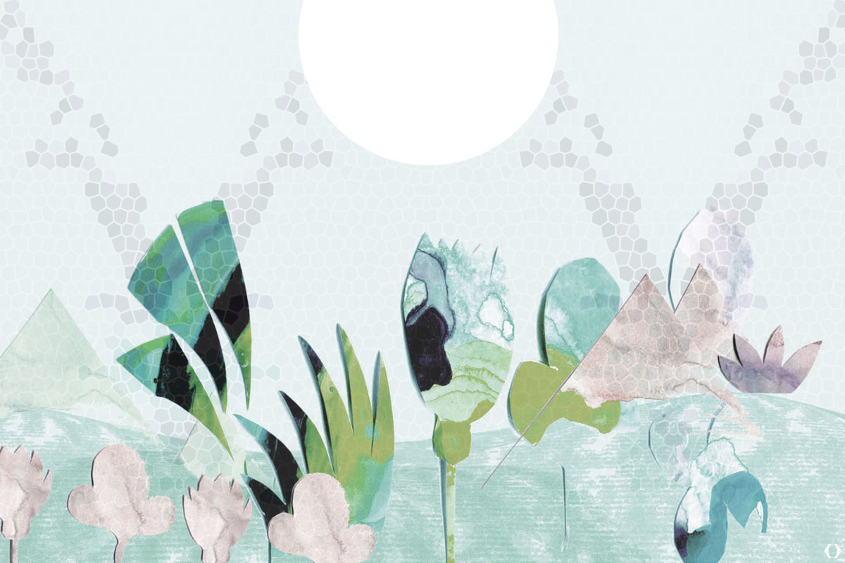 Illustration einer blühenden Wüste mit Vollmond