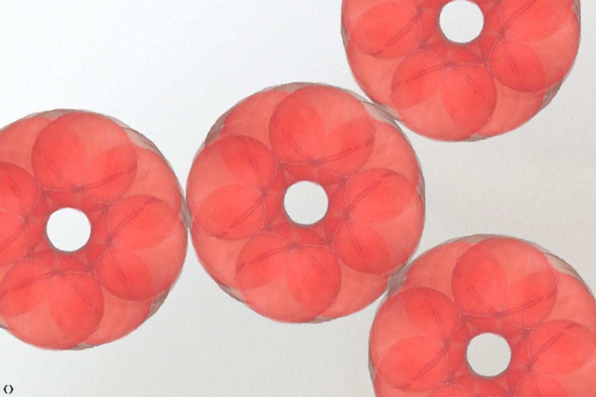 Rote donutähnliche Kreise, die sich berühren wie Zahnräder