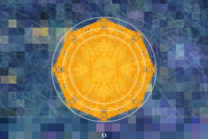 Mandala in Gelb mit dunkelblauem Hintergrund