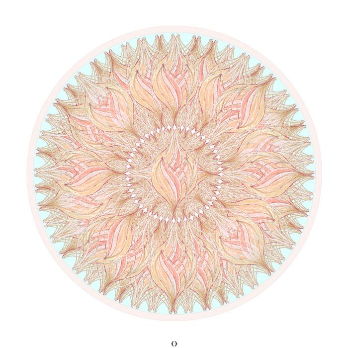Mandala in Koralle und Mintgrün